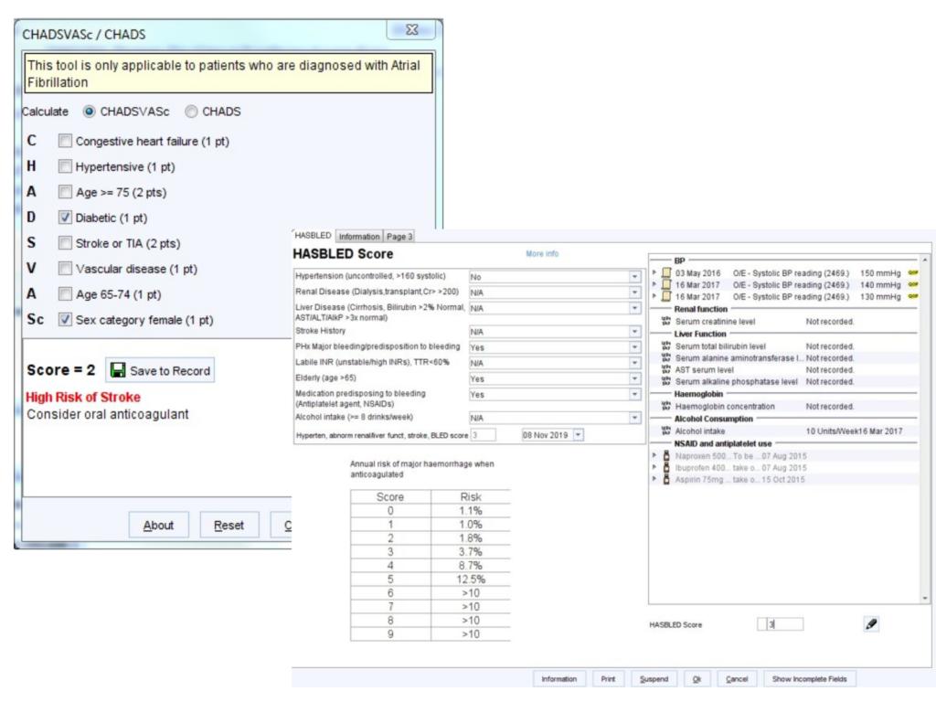 Screen shot of CHADSVasc & HASBLED templates